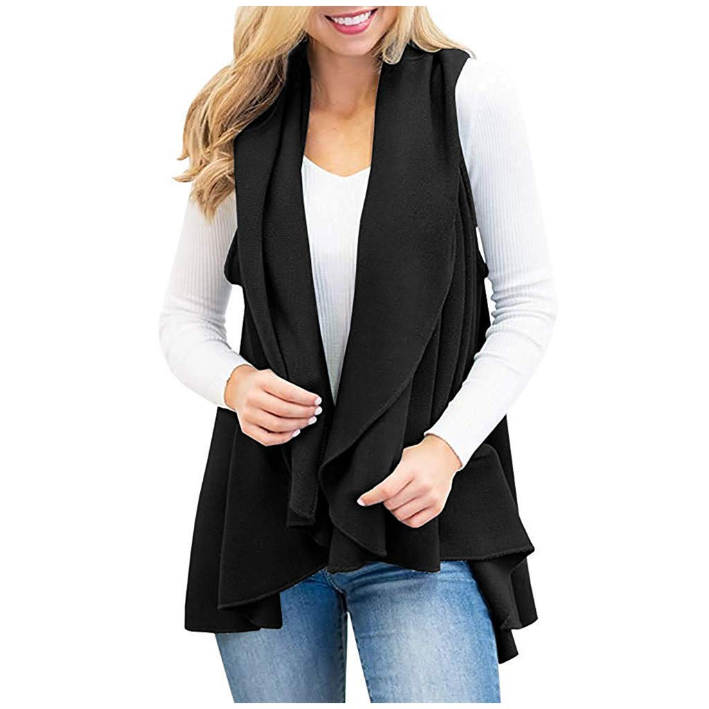 Women's Knitted Sleeveless Vest Cardigan Blouse Tops Buckleless Cotton Thin Shawl Faux Suede Fringed Solid Color Jacket