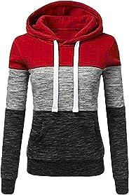 Clearance! Women Fashion Sweatshirt Stripe Long Sleeve Blouse Hooded with Kangaroo Pocket Pullover Tops Shirt