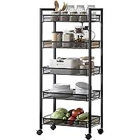 Pyson stainless steel iron kitchen shelf kitchen supplies storage rack microwave bathroom floor five store shelves (5…