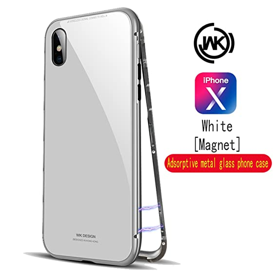 the latest beb09 fd3ed Apple iPhone X Case [Magnetic Adsorption Technology] [Metal Frame] [ Glass  Back] [Support Wireless Charging] 【Wk brand】 for iPhone X/10 (iPhoneX ...