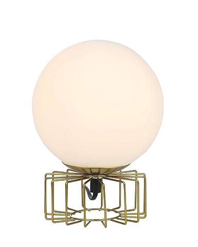 Lámpara de mesa de latón con bola de cristal, lámpara de noche ...