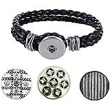 Morella® Damen Armband geflochten mit 3er Click-Button als Set Druckknopf Disco-Style