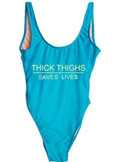 bc807359aa08b MNLYBABY Womens Thick Thighs Saves Lives One Piece Swimsuit Funny Letters  Print High Cut Backless Bathing