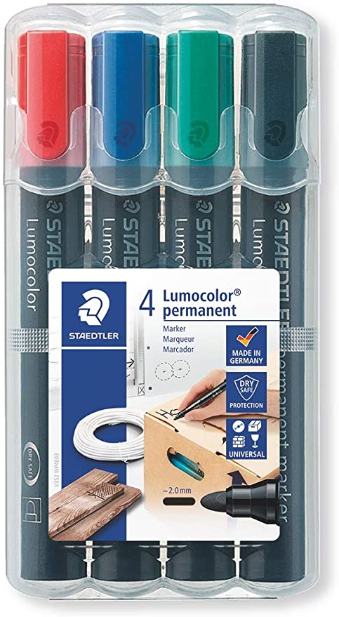 STAEDTLER 352 WP4 - Estuche de 4 marcadores permanentes con punta cónica, Colores surtidos: Amazon.es: Oficina y papelería