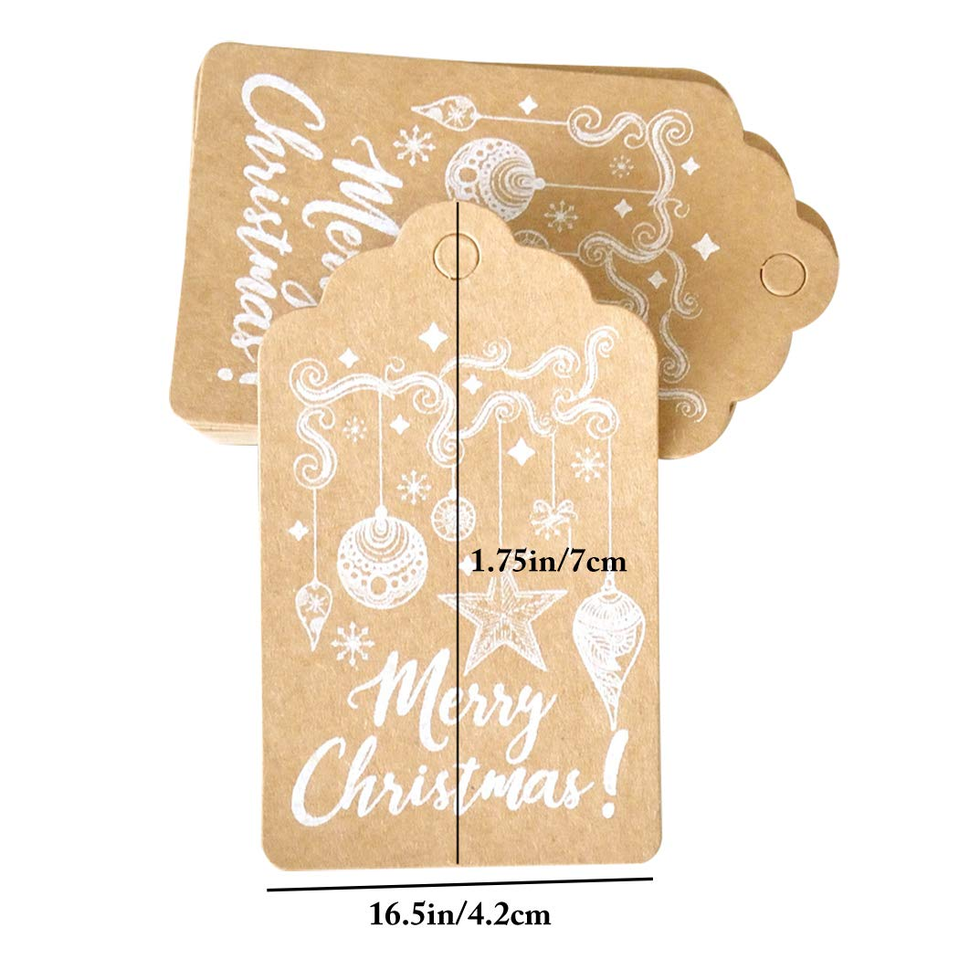 Xmas Gift Tag,Justdolife 150PCS Christmas Gift Tag Decorative Hanging Tag Paper Tag with Jute Twine by JUSTDOLIFE (Image #3)