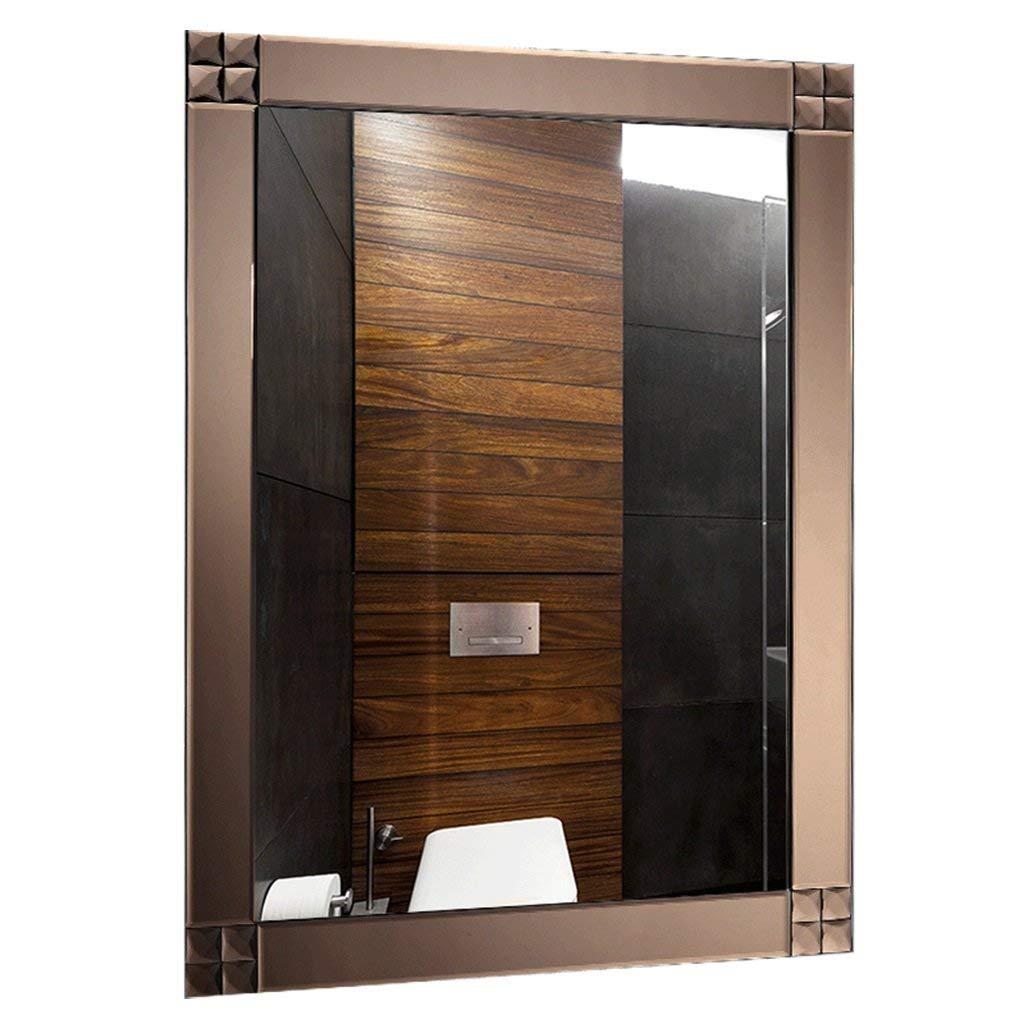 ホームデコレーションミラー リビングルームのバスルームの鏡浴室の壁に取り付けられた正方形の鏡寝室の化粧鏡壁に木製のフレームの鏡を取り付ける全身鏡ヨーロッパスタイルの浴室のガラス鏡シャワー鏡 家の装飾のためのミラー (色 : White, サイズ : 60cm*80cm) 60cm*80cm White B07M7BYW3R