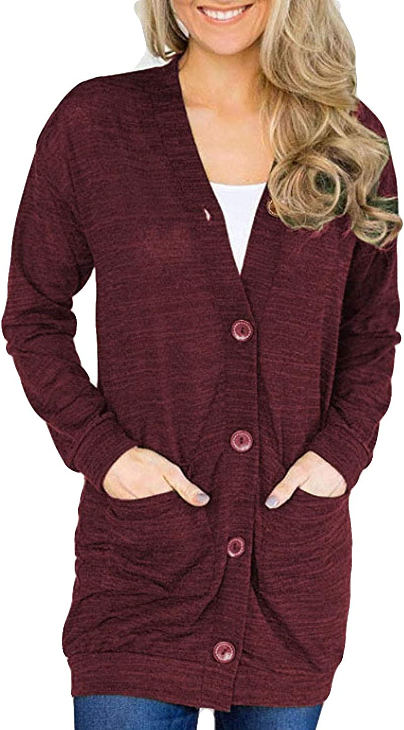 POGTMM Women's V Neck Button Down Basic Lightweight Knit Snap Long Sleeve Cardigan Sweaters with Pockets