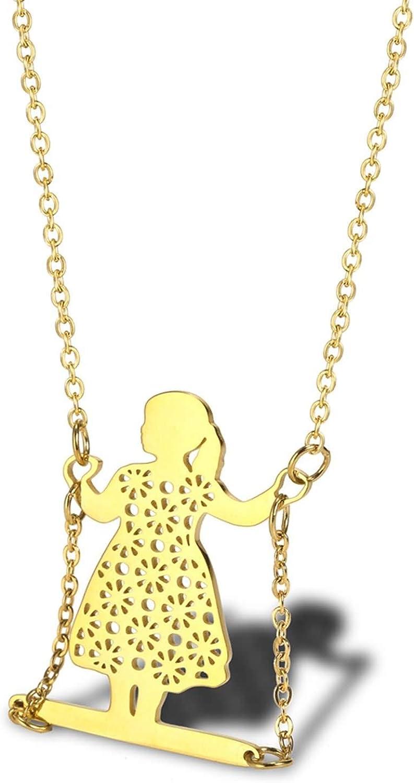 Beydodo Collares Acero Inoxidable Mujer Collar de Mujer Niña Columpio Collar Colgante Mujer Plata/Oro/Oro Rosa
