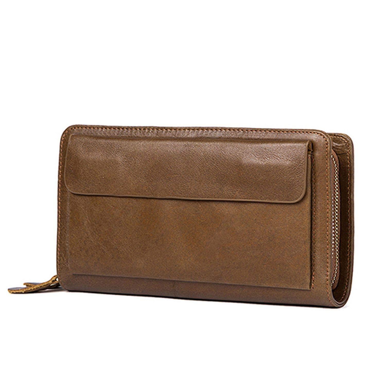 MenS Clutch Male Wallet MenS Genuine Leather Double Zipper Clutch Bags Purse For Men Passport Phone Wallets