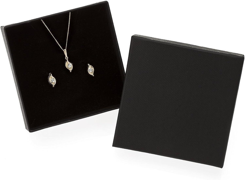 doppelt geschwungen Kristall Ohrringe und Anh/änger Funkyrox Schmuckset 9 kt Gold