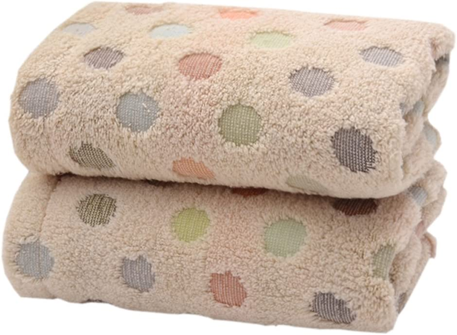 Pidada 100% Cotton Hand Towels Polka Dot Pattern Super Soft Highly Absorbent Towel for Bathroom 13.4 x 30 Inch Set of 2 (Brown)