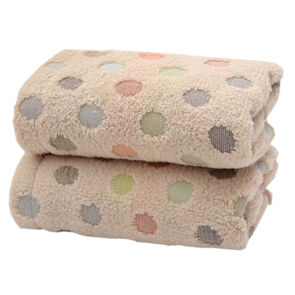 Pidada 100% Cotton Hand Towels Polka Dot Pattern Super Soft Highly Absorbent Luxury Towel for Bathroom 14 x 30 Inch Set of 2 (Brown)