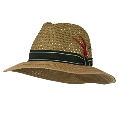 6fe2efbe36e29 Jeanne Simmons Men s Large Brim Straw Fedora Hat - Bronze L at ...