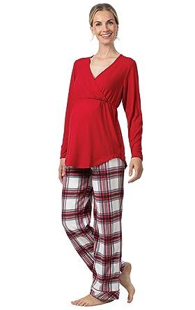 5e419a7c2c0a4 PajamaGram Women's Maternity Pajamas Soft - Fleece Maternity PJs, Red at  Amazon Women's Clothing store: