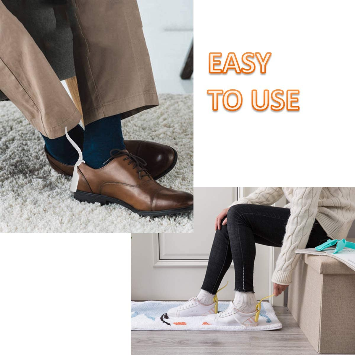 8 Pack Portable Lazy Shoes Helper Shoe Wear Helper Shoe Lifting Helper for Men Women Kids, Sock Slider Handled Shoe Horn for Seniors, Elderly, Disabled, Fits All Shoes, Blue and Grey: Shoes