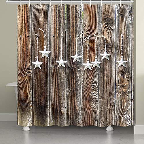 - JAWO Wood Door with Stars Shower Curtain Wooden Garage Barn Farmhouse Room Decor Bath Curtains