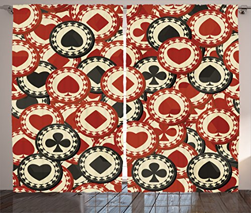 Ambesonne Casino Decorations Collection, Poker Chips Metropolitan Dollar Currency Symbols Wealth Winning Enjoy Picture, Living Room Bedroom Curtain 2 Panels Set, 108X90 Inches, Burgundy Black