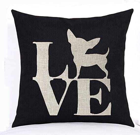 Amazon Com Lovely Cute Animal Chihuahua Dog Crab Cotton Linen Square Throw Waist Pillow Case Decorative Cushion Cover Pillowcase Sofa 18x18 Inches 4 Home Kitchen