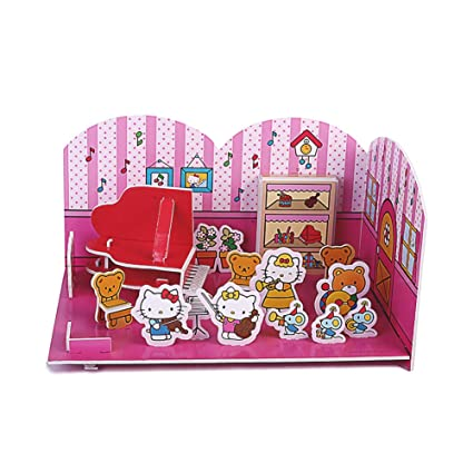 0e95ff479 Hello Kitty 3D Scene Jigsaw Puzzle - Beautiful Campus - Music Classroom,  Suitable for Children