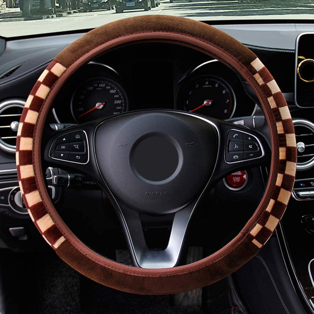 Square Lattice Pattern Diameter 38CM iTimo Car Steering Wheel Cover Plush Fabric