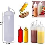 Healthcom 6pk 8 oz Food Dispensers Plastic Squeeze Bottles Condiment Bottles Twist On Cap Lids Multi Purpose Squeeze Bottles