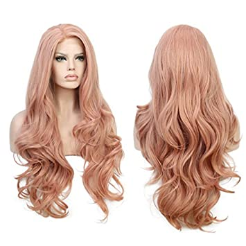 Hot Sale!OWMEOT Women s Pink Big Wave Long Fluffy Wig for Women Girls  Synthetic Dress ad1a9c8bcf
