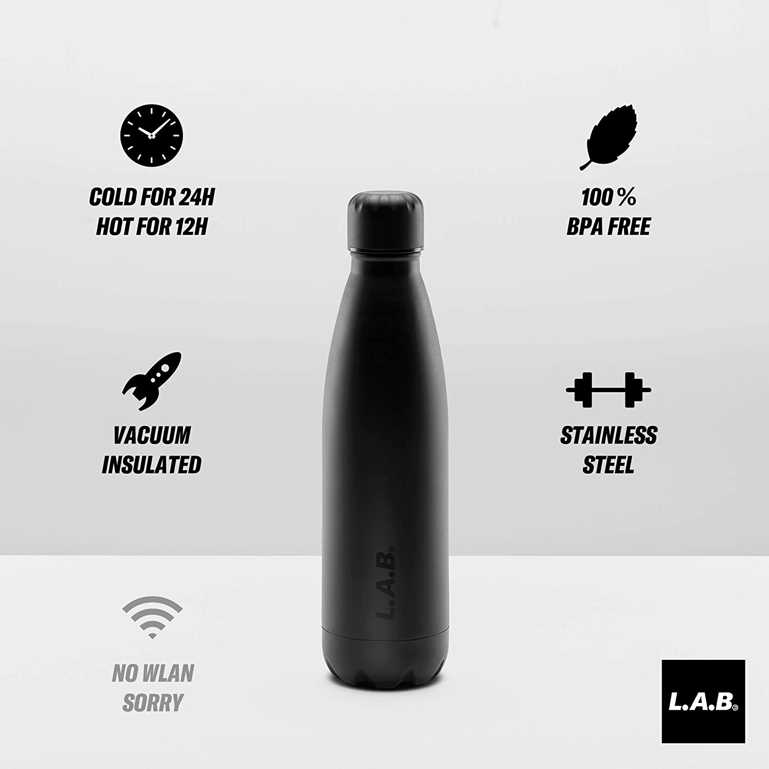 Bottle by Lab/500 ml botella de agua térmico doble de alta calidad acero inoxidable termo/Premium/TOP Botella para oficina (Diseño Agencia), fitness (Yoga) ...