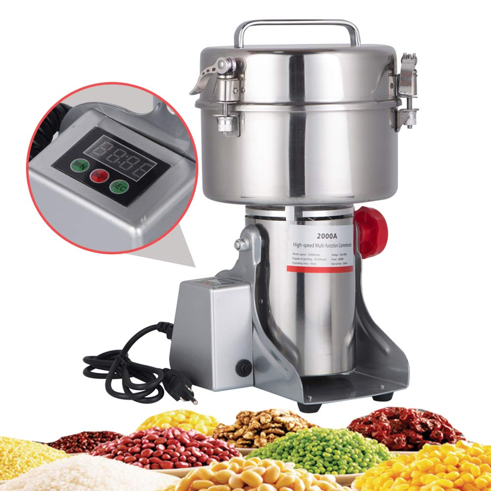 DaTOOL 1000g Commercial Electric Grain Grinder New LED Didital Display Stainless Steel Electric Mill Ultra-fine Powder Grinding Machine 32000 r/min CE Approved for Kitchen Herb Spice Pepper Coffee Powder Grinder (1000g Grinding Machine)