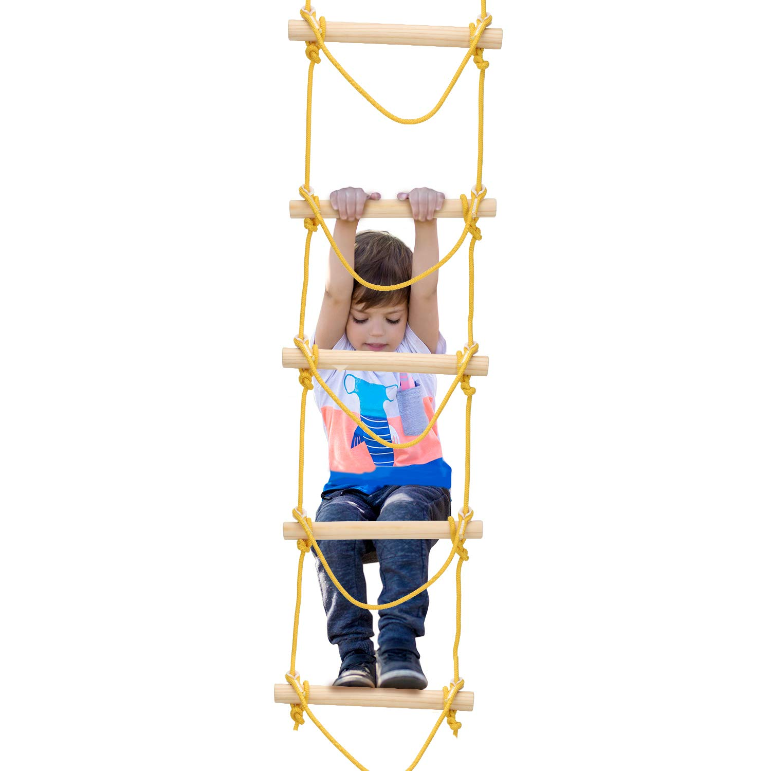 PACEARTH 5.2ft Climbing Rope Ladder for Kids Adults Playground Sturdy Wood Hanging Tree Ladder for Indoor Outdoor Swing Accessories, Tree House, Play Set, Climbing Game by PACEARTH