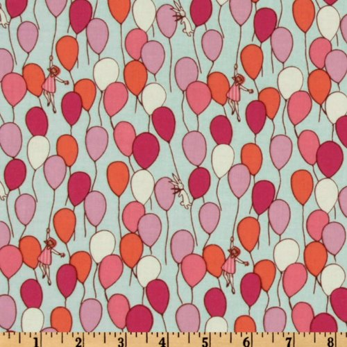 Michael Miller Children at Play Balloon Aqua Fabric By The - Michael Fabric Quilt Miller