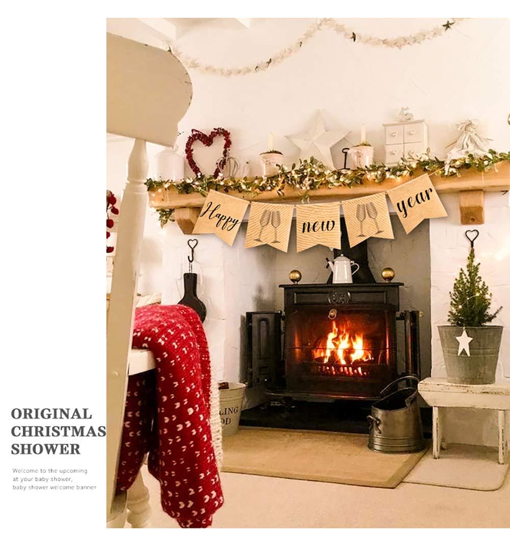 Rainlemon Jute Burlap Happy New Year Banner Fireplace Mantel Bunting Garland Decoration