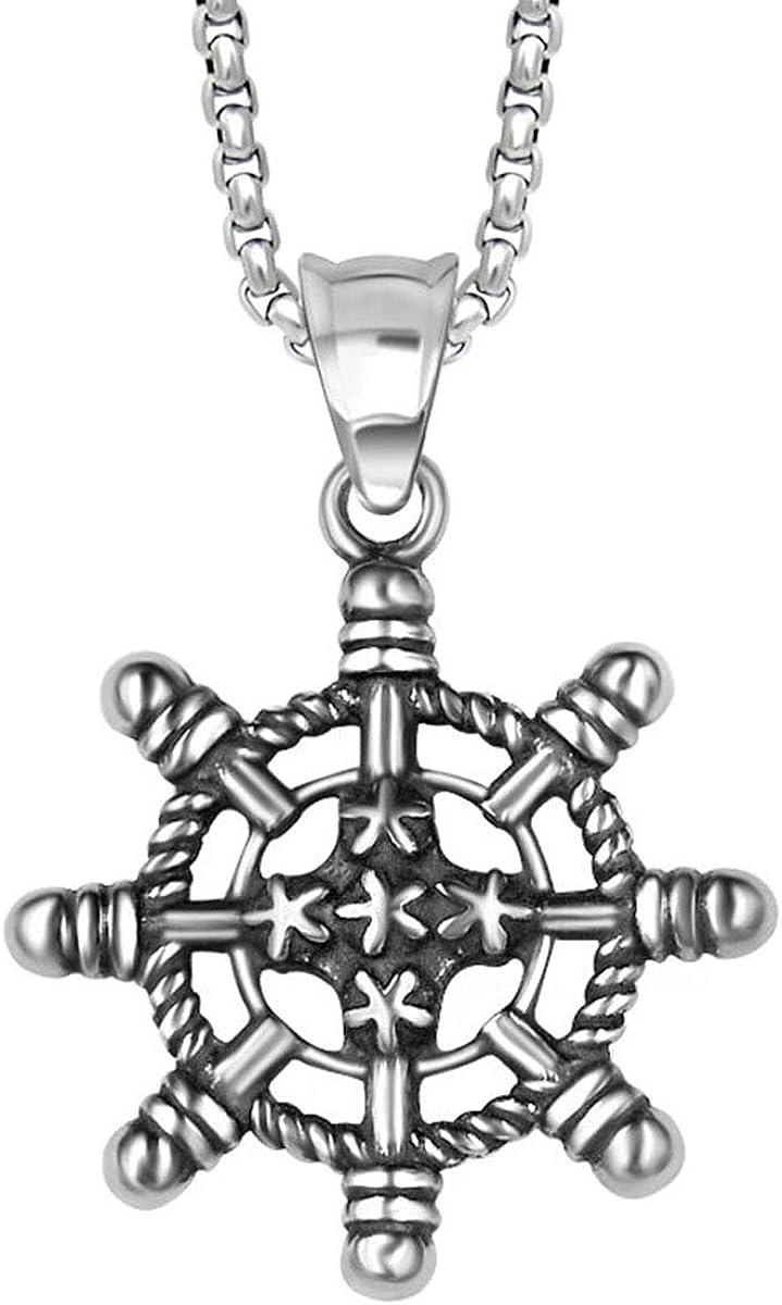 AERLIS Mens Titaniuim Steel Pendant Necklace Retro Personality/Stylish Rudder with 24inch Chain