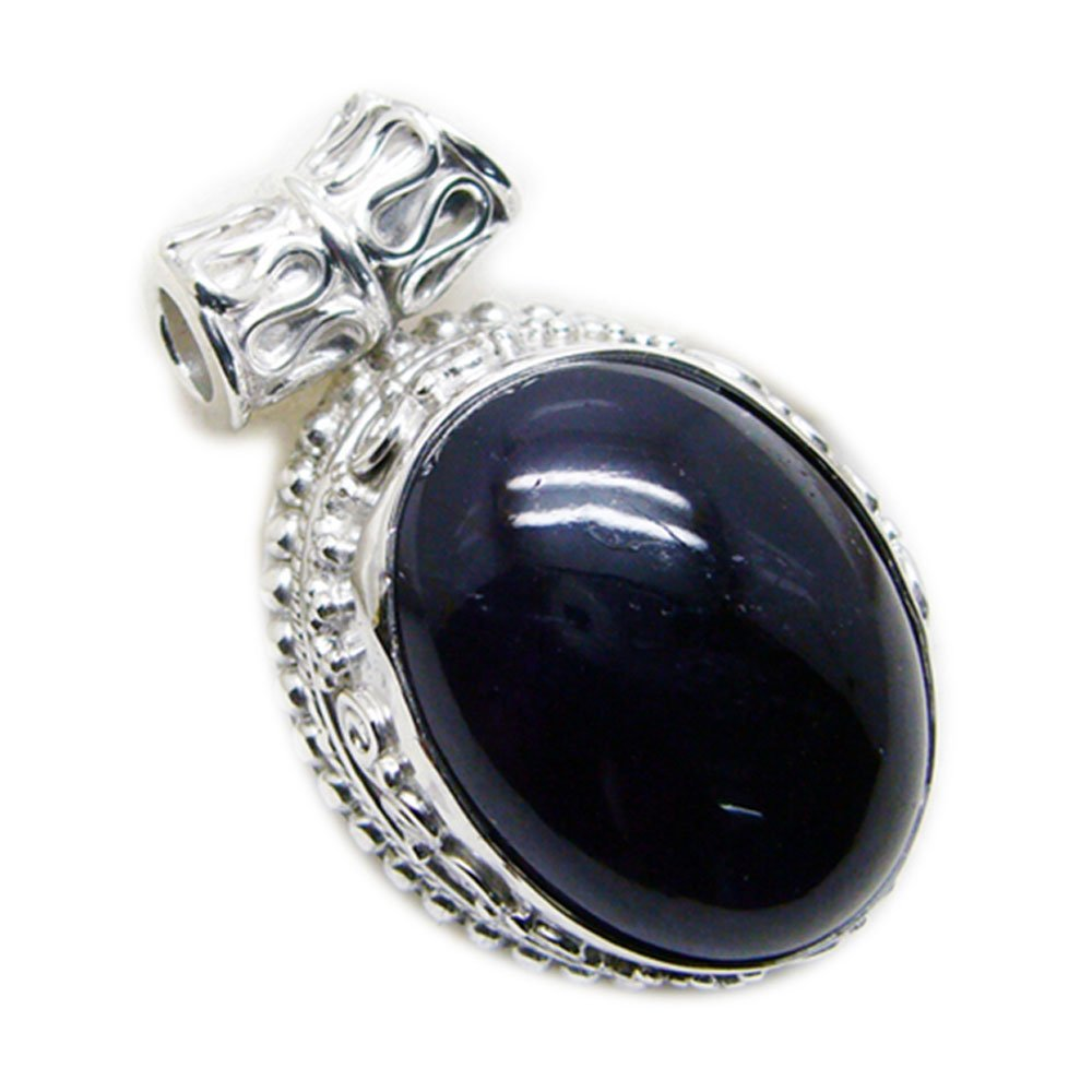 55Carat Natural Black Onyx Sterling Silver Vintage Charms Pendant Chakra Healing Oval Shape Handmade Necklace
