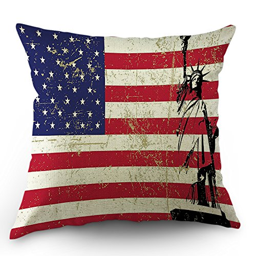 Moslion American Flag Pillows Decorative Throw Pillow Statue of Liberty US Flag Pillow Case Cotton Linen 18 x 18 Inch Square Cushion Cover Happy New Year for Sofa Bed Coral White Navy Blue