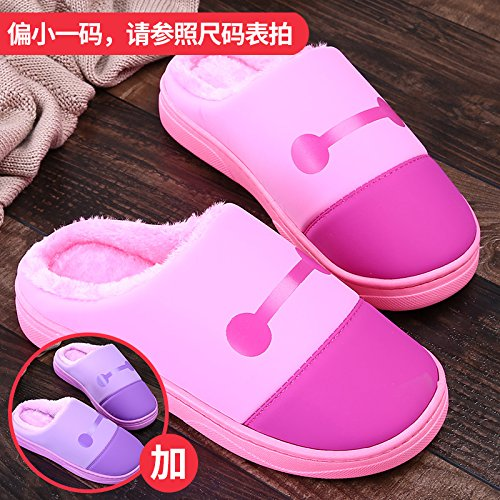 LaxBa Femmes Hommes chauds dhiver Chaussons peluche antiglisse intérieur Cotton-Padded Chaussures Slipper + rose + violet40/41 40/41