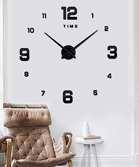 Details about  /Large 3d Wall Clock Home Decor Room Modern Mirror Design Decorative Sticker Diy