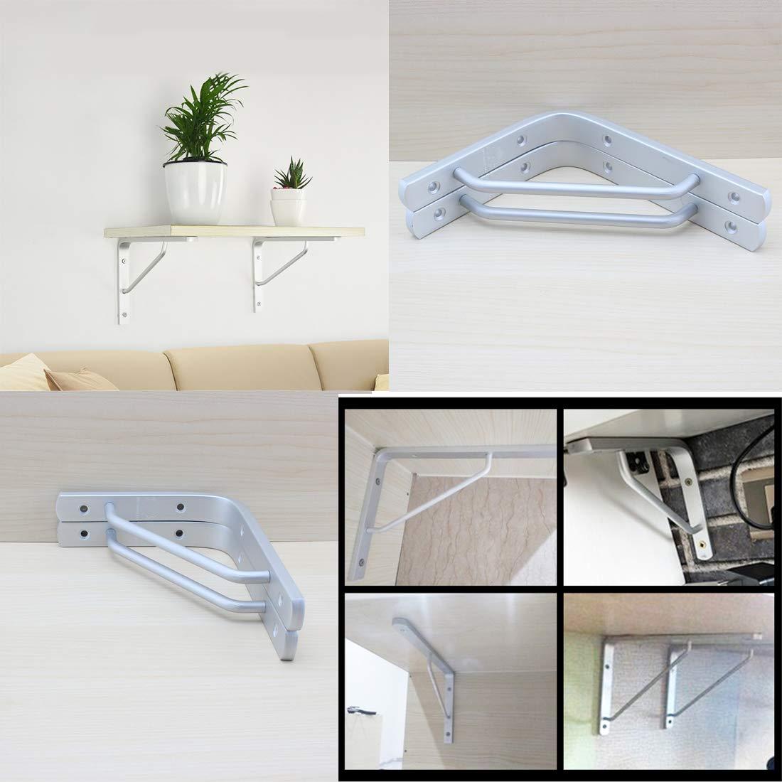 MoreShow 2 Pcs Aluminum Alloy Solid L Brackets,Shelf Support Corner Brace Joint Right Angle Bracket for Office Home Garden,Right Angle Bracket,L Shaped Bracket,Angle Brace(8''X6'')