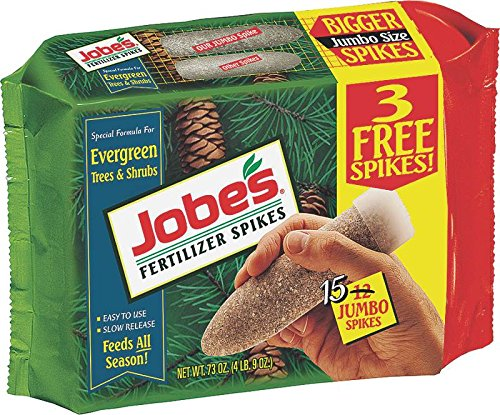 Jobe's Evergreen Fertilizer Spikes 13-3-4 Time Release Fertilizer for Juniper, Spruce, Cypress and All Other Evergreen Trees, 15 Spikes per Package (Tree Fertilizer Stakes)