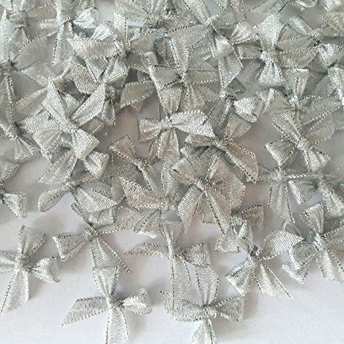 100 Pcs Mini Silver Ribbon Bows Crafts Party Decoration Handcraft