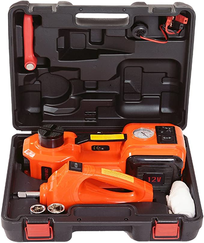 BELEY 12V 5Ton Electric Hydraulic Jack Car Jack Kit 3-in-1 Tire Inflator LED Light Lifting Tools Set for Road Emergency Repairing