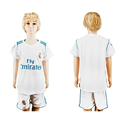 SPOFASH Youth Real Madrid Soccer Jersey and Shorts Suit Fan Replica Uniform Soccer Kit For Kids- White