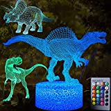 3D Dinosaur Night Light - 3D Illusion Lamp 3 Pattern and 7 Color Change Decor Lamp with Remote Control for Kids Best Birthday Gifts Toys for Boys Girls Baby Age 1 2 3 4-5 6 7 8 Year Old