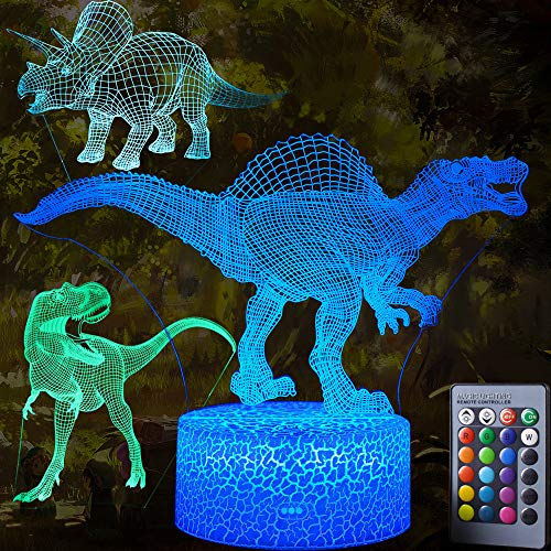 AdaSun 3D Dinosaur Night Light - 3D Illusion Lamp 3 Pattern and 7 Color Change Decor Lamp with Remote Control for Kids Best Birthday Gifts Toys for Boys Girls Baby -
