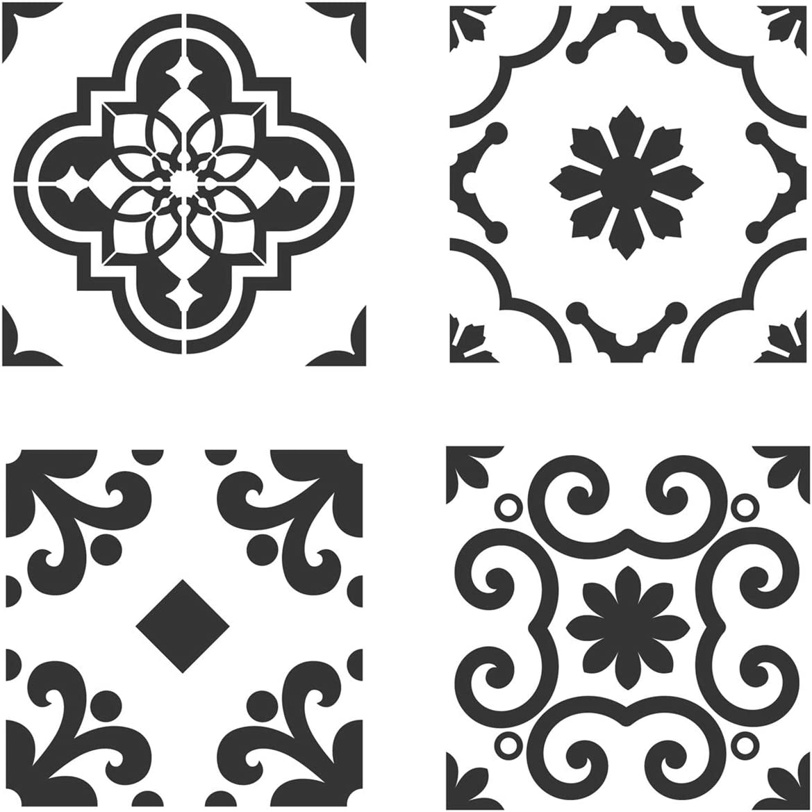 FUNWALTILES DIY Granada Wall Painting Stencil Tile Floor Furniture Home Decor 4pcs//Set