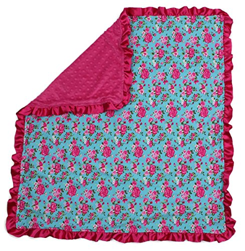 Dear Baby Gear Baby Blankets, Vintage Floral Pink on Blue, Hot Pink Minky, 32 Inches by 32 Inches
