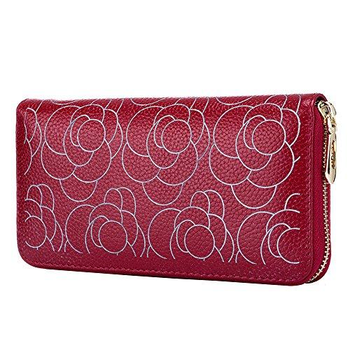 Price comparison product image Women Handbag Wallet Fashion Leather Zip Long Phone Purse(Red)