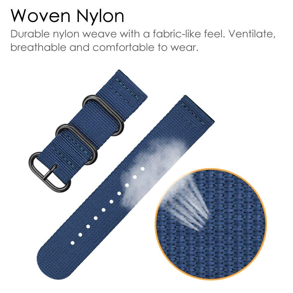 Forerunner 235 Approah S20 Watch Band, Azadodo Nylon Canvas Replacement Strap for (Canvas - Dark Blue)
