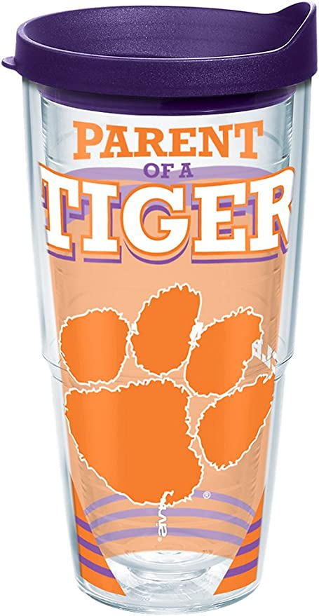 Clear Tervis 1229823 Wyoming Cowboys College Pride Tumbler with Wrap and Brown Lid 24oz