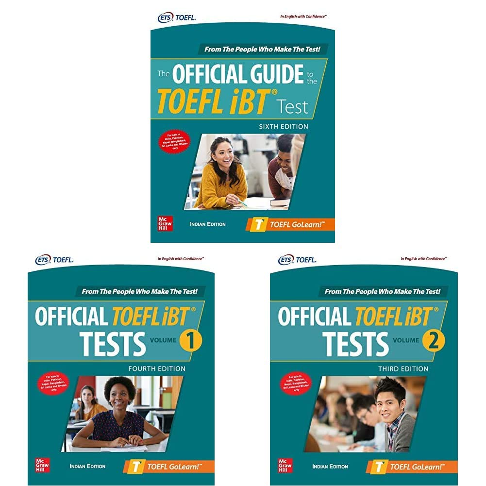 McGraw Hill's TOEFL Preparation Combo – Official Guide, iBT Tests Volumes 1 & 2 (Set Of 3 Books)   Latest Editions