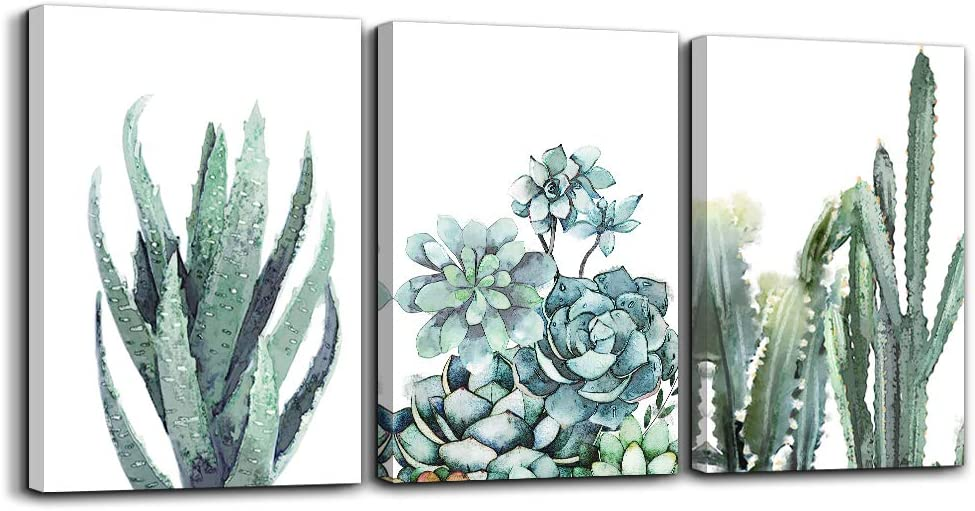 "Canvas Wall Art for living room bathroom Wall Decor for bedroom kitchen artwork Canvas Prints green plant flowers painting 16"" x 24"" 3 Pieces Modern framed office Home decorations family picture"